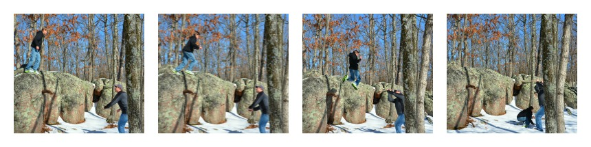 E jumping off a rock pictures