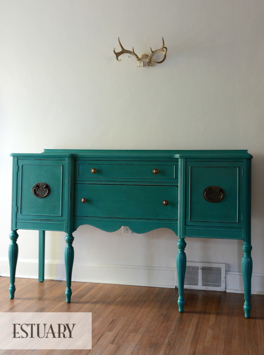 Debut A Turquoise Sideboard With Stunning Hardware