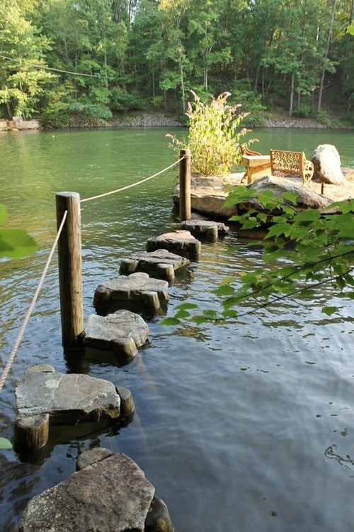 Daydreaming of relaxing at the lake Stepping stones