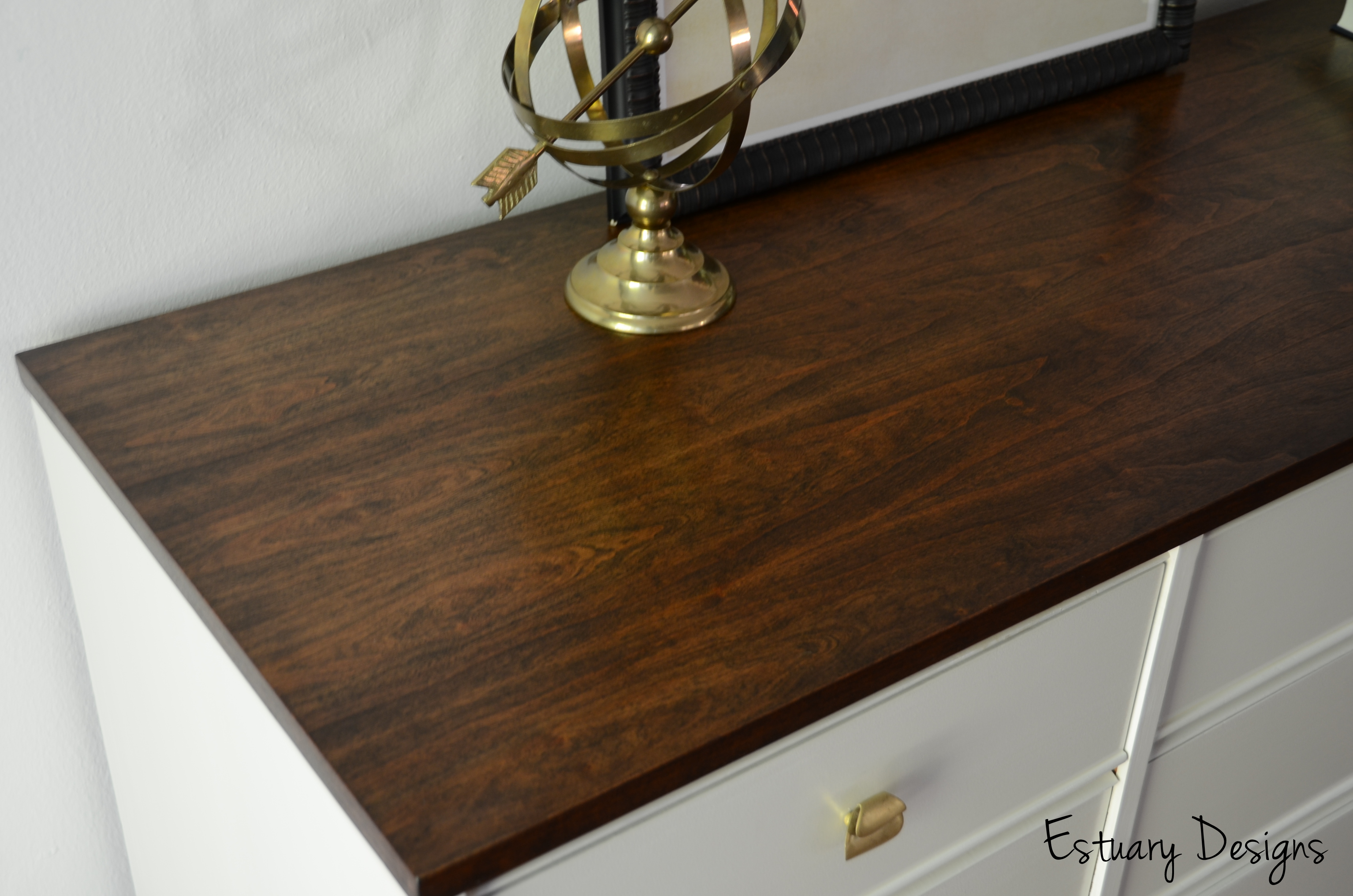 Mid Century Modern Dresser Makeover With A Beautifully Stained Top