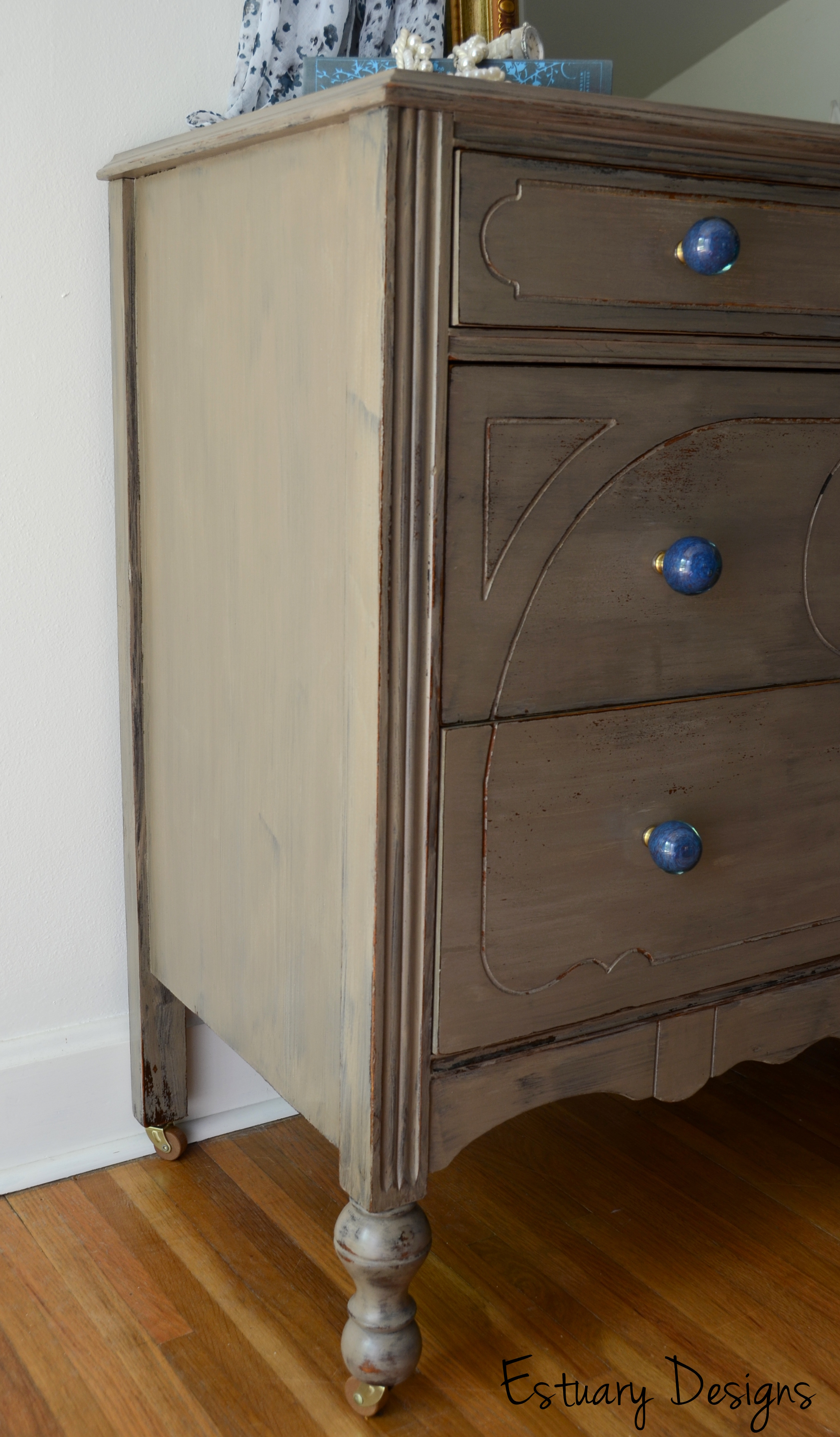 A Driftwood Esque Dresser With Blue Glass Knobs Estuary Designs
