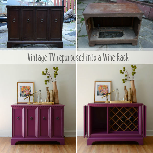 Before and After Vintage TV repurposed into a wine rack