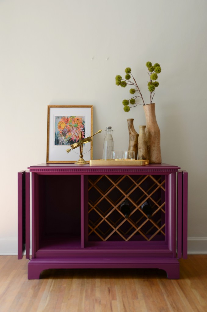 Ophelia a repurposed tv cabinet into a wine rack