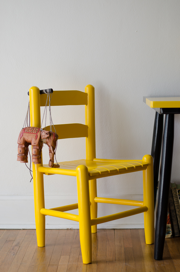 Yellow painted child's chair