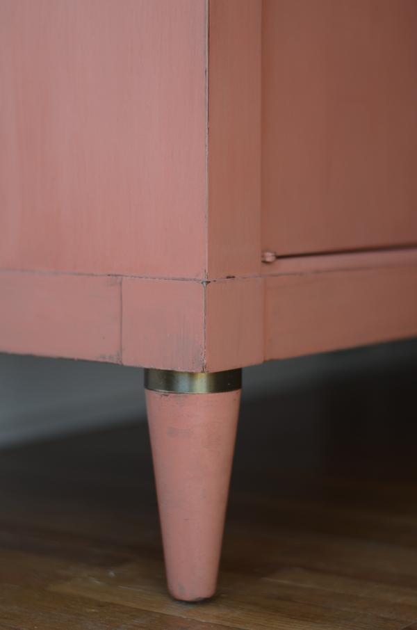 Frankie leg detail- salmon painted sideboard