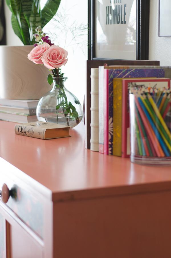 Frankie top view- custom salmon painted furniture