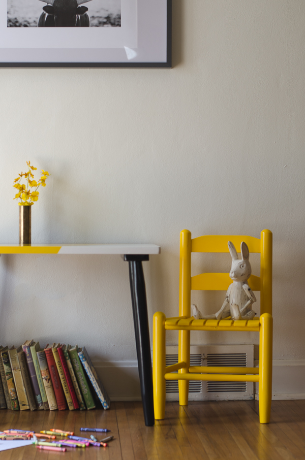 Child table and chair makeover in black, white and yellow