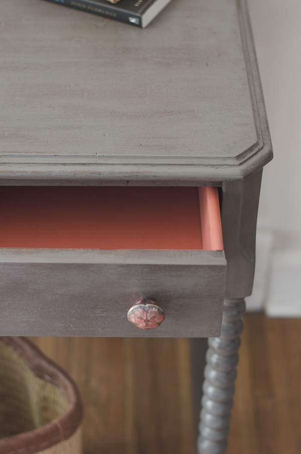 Cassandra grey leggy desk after drawer detail