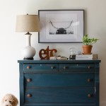 Empire dresser painted deep green/blue with wood knobs